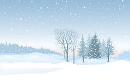 Fond de chutes de neige de Noël Paysage d'hiver de neige Joyeux Chri illustration stock