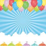 Fond de ciel avec des tentes de ballon et d'événement illustration libre de droits