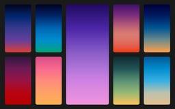 Fond de ciel de couleur sur l'obscurité Gradients de coucher du soleil et de lever de soleil réglés Contexte coloré mou pour l'AP illustration stock