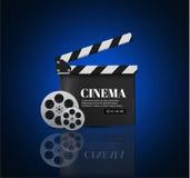 Fond de cinéma avec le film Fond bleu avec l'étoile légère Panneau de clapet Insecte ou affiche de vecteur illustration stock