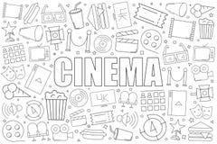 Fond de cinéma de ligne icône modèle linéaire de vecteur photographie stock