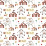 Fond de cirque Élément de modèle sans couture Ensemble simple d'objets Illustration de vecteur illustration libre de droits