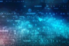 Fond de code binaire, fond abstrait de technologie de Digital, fond de technologie de Cyber avec des codes binaires illustration libre de droits