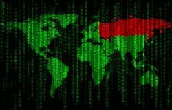 Fond de code binaire avec la carte du monde photo stock
