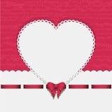Fond de coeur avec le ruban pink2 Photographie stock