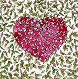 Fond de coeur avec les feuilles colorées Le jour de Valentine Watercol illustration stock