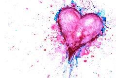 Fond de coeur d'aquarelle pour la conception de jour de valentines Photos stock