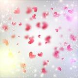 Fond de coeur de Blured avec des coeurs et Photographie stock libre de droits