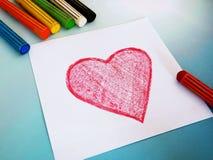 Fond de coeur dessiné par crayon Images stock
