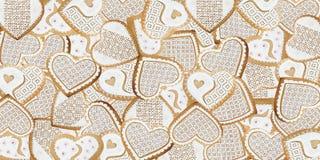 Fond de coeurs de pain d'épice Photos libres de droits
