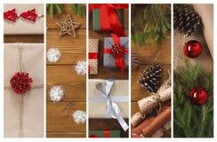 Fond de collage de cadeaux, de guirlandes et de présent de boîtes de Noël Photo stock