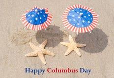 Fond de Columbus Day avec des étoiles de mer Photographie stock