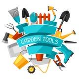 Fond de concept avec des outils et des icônes de jardin Tous pour l'illustration de jardinage d'affaires illustration stock