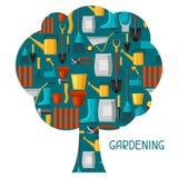 Fond de concept avec des outils et des icônes de jardin Tous pour l'illustration de jardinage d'affaires illustration libre de droits