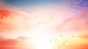 Fond de concept coloré de ciel : Coucher du soleil dramatique avec le ciel et les nuages crépusculaires de couleur Images libres de droits