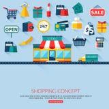 Fond de concept d'achats avec l'endroit pour le texte Images stock