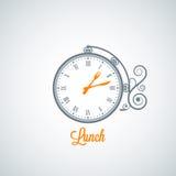 Fond de concept d'horloge de déjeuner Image libre de droits