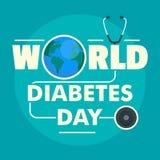 Fond de concept de jour de diabète du monde, style plat illustration de vecteur