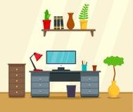 Fond de concept de lieu de travail d'ordinateur, style plat illustration libre de droits