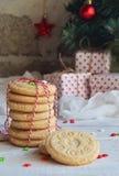Fond de concept de Noël et de célébration de vacances de nouvelle année Biscuit fait maison d'écrou, sablé, décoration d'arbre de Photos stock