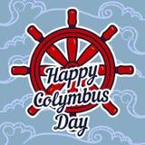 Fond de concept de roue de bateau de jour de Columbus, style tiré par la main illustration libre de droits