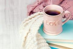 Fond de conception de valentine de tasse de thé rétro Images stock