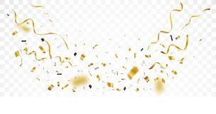 Fond de confettis d'or, d'isolement sur le fond transparent photos stock