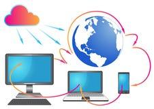 Fond de connexion du monde de technologie illustration stock
