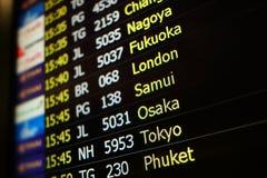 Fond de conseil de vol de Nagoya, Fukuoka, Londres, Samui, Osaka Photo libre de droits