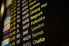 Fond de conseil de vol de Sydney, Chiang Mai, Nagoya, Fukuoka, Photographie stock