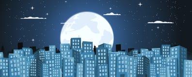 Fond de constructions de dessin animé dans le clair de lune Image stock