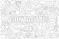 Fond de contactez-nous de ligne icône modèle linéaire de vecteur photo stock