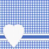 Fond de contrôle de coeur d'amour de guingan Effet de napperon, blanc bleu illustration de vecteur