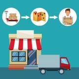 Fond de couleur avec la tente de magasin de façade et le camion de livraison dans le mouvement Photo stock