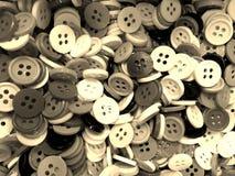 Fond de couture désordonné de boutons de ton de sépia petit photos stock