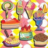 Fond de crème glacée et de petit gâteau  Illustration Libre de Droits