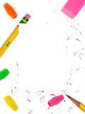 Fond de crayon et de gomme à effacer Image stock