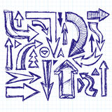 Fond de croquis d'idée avec Pen Drawn Arrows Illustration de Vecteur