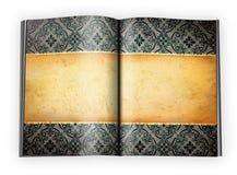Fond de cru aux pages ouvertes d'un livre Photographie stock libre de droits