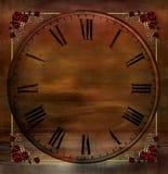 Fond de cru avec des coins d'horloge et de Rose Photos stock