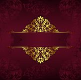 Fond de cru avec les ornements d'or de dentelle et les ?l?ments d?coratifs floraux d'art d?co illustration de vecteur