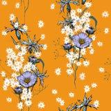 Fond de cru wallpaper Flowe d'isolement réaliste de floraison illustration libre de droits