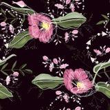 Fond de cru wallpaper Tiré par la main Illustration de vecteur Modèle floral à la mode modèle sans couture d'isolement illustration stock