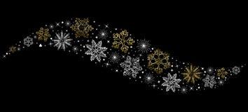 Fond de décoration de neige de concept de Noël d'or Photos stock