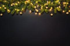 Fond de décoration de Noël au-dessus de tableau noir Photo stock