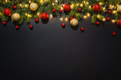 Fond de décoration de Noël au-dessus de tableau noir Image libre de droits