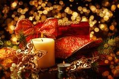 Fond de décorations de Noël pour la carte Photo libre de droits