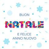Fond de découpage de papier de flocon de neige de vecteur de carte de voeux de Buon Natale Merry Christmas Italian Photo libre de droits