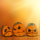 fond de 3D Halloween avec des potirons Photos libres de droits