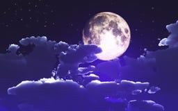 fond de 3D Halloween avec les nuages et la lune illustration libre de droits